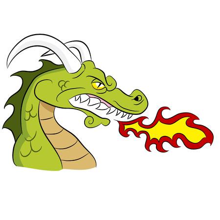 Cartoon fire breathing dragon.