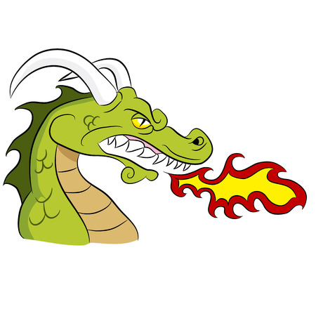 Cartoon fire breathing dragon.
