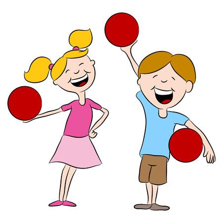 Cartoon kinderen spelen dodgeball.
