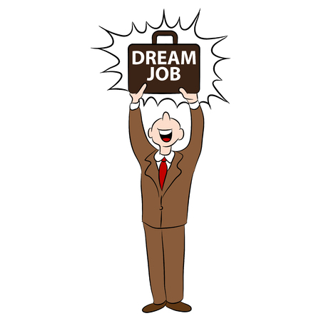jobs people: An image of a cartoon man happy with getting his dream job.