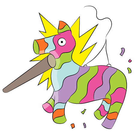 pinata: An image of a cartoon animal pinata being hit with a stick. Illustration