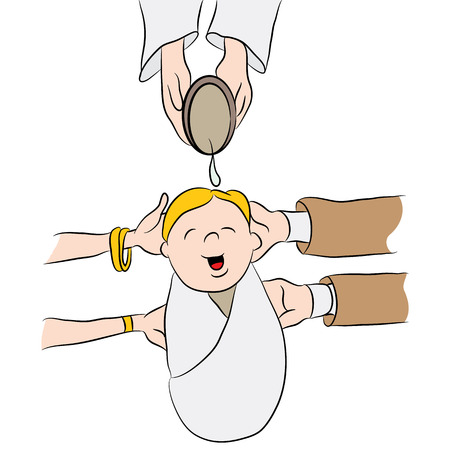 An image of a cartoon child having water poured on his head while being baptized. Illustration