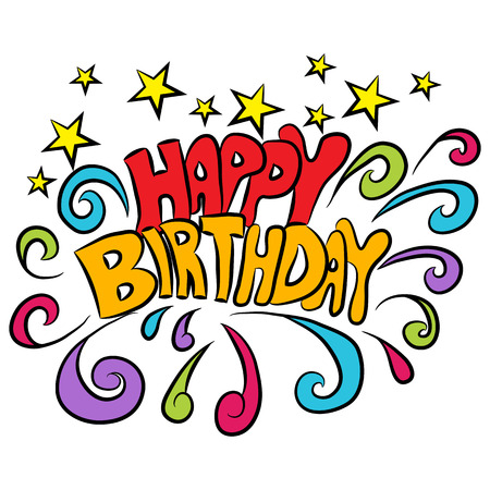 happy birthday text: An image of a happy birthday text background. Illustration
