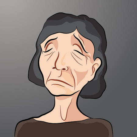 miserable: An image of a sad elderly woman.