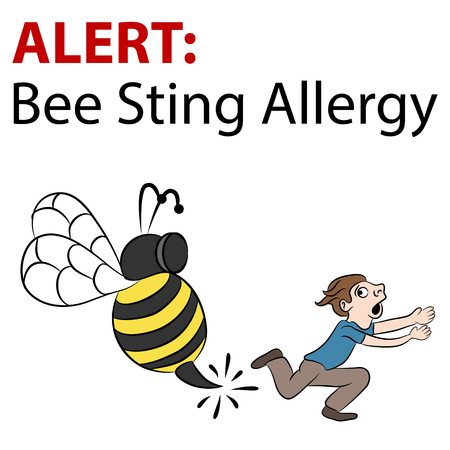 stinging: An image of a cartoon bee stinging a running man. Illustration