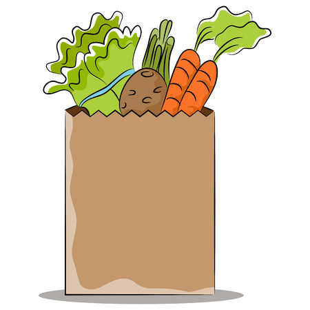 grocery bag: An image of a grocery bag of healthy vegetables. Illustration