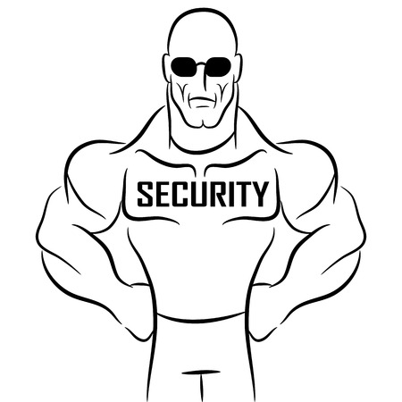 An image of a security guard or bouncer cartoon. Illustration
