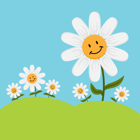 An image of cartoon smiling daisy flowers.