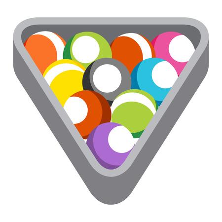 rack: An image of billiard pool balls in a rack. Illustration