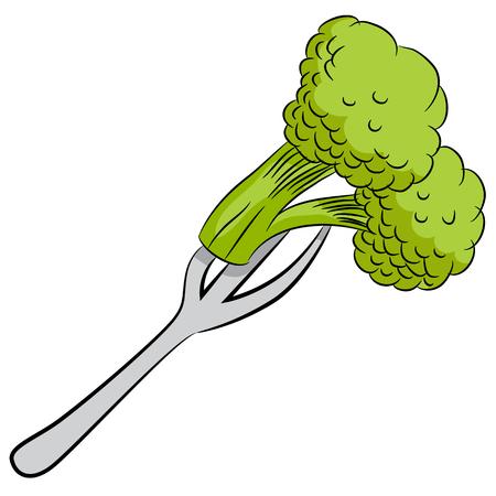 An image of a cartoon broccoli on a fork.
