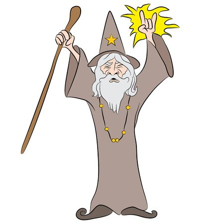 casting: An image of a cartoon wizard casting a spell. Illustration