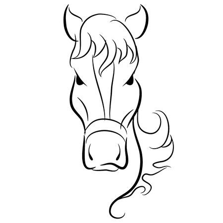 Een beeld van een eenvoudige tekening van een paard hoofd.