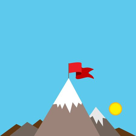 summit: An image of a red flag on top of a snow covered mountain peak.
