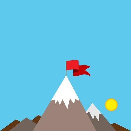 coberto de neve: Uma imagem de uma bandeira vermelha no topo de um pico coberto de neve da montanha.