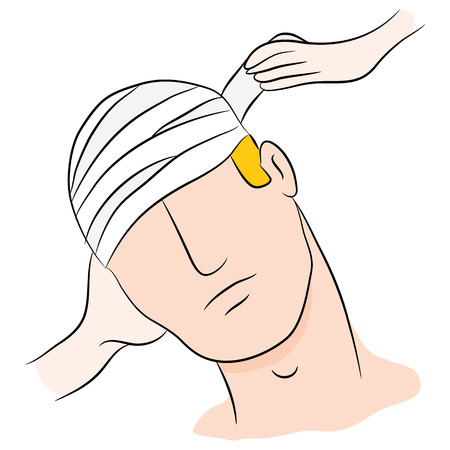 victim: An image of a head trauma victim with bandages being wrapped. Illustration