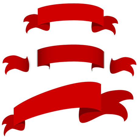 An image of a red ribbon banner icon set.  イラスト・ベクター素材