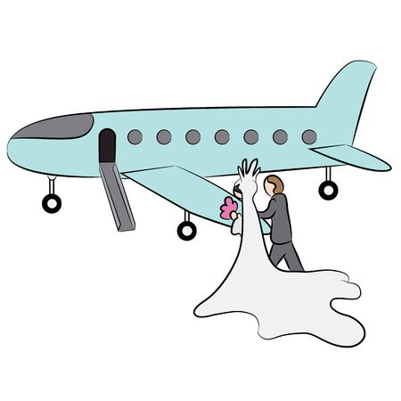 An image of a cartoon of a newly married couple heading to their honeymoon on a private jet.