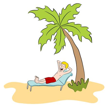 alone person: An image of a man relaxing on a private island.