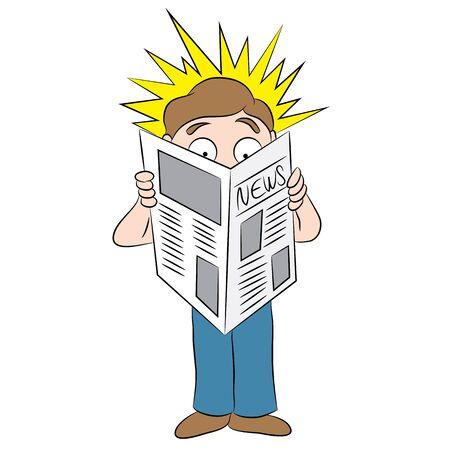 An image of a cartoon man reading a shocking headline in a newspaper. Ilustração