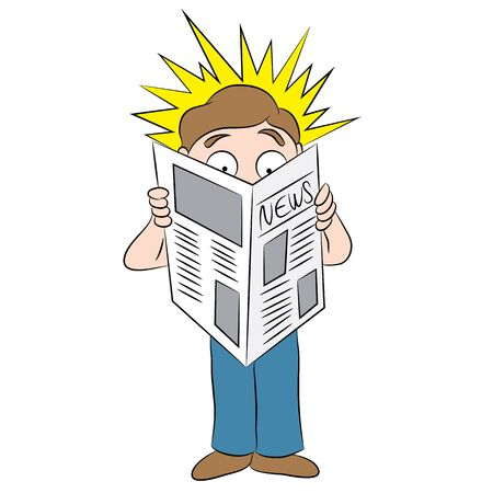 newspaper headline: An image of a cartoon man reading a shocking headline in a newspaper. Illustration