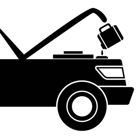 open car: An image of a car being given fluid for maintenance.