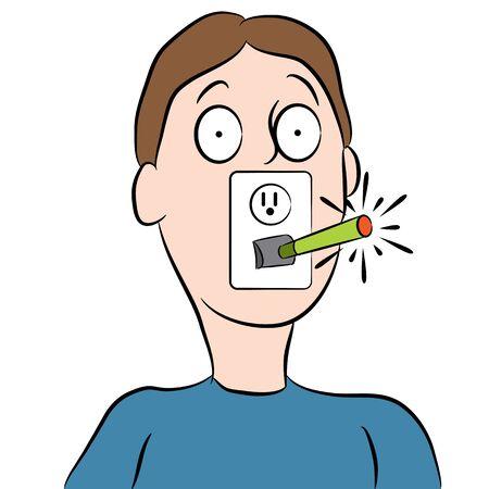 An image of a man smoking an abstract e-cigarette.