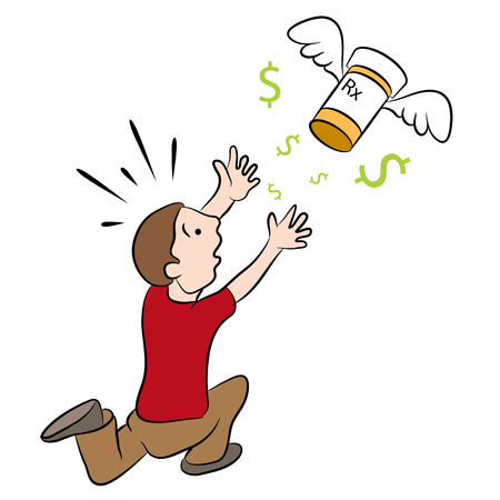 clip art cost: An image of a man chasing high cost drugs.