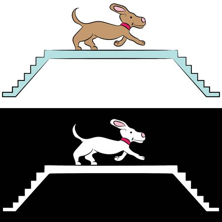 ramp: An image of a cartoon dog learning how to use a ramp. Illustration
