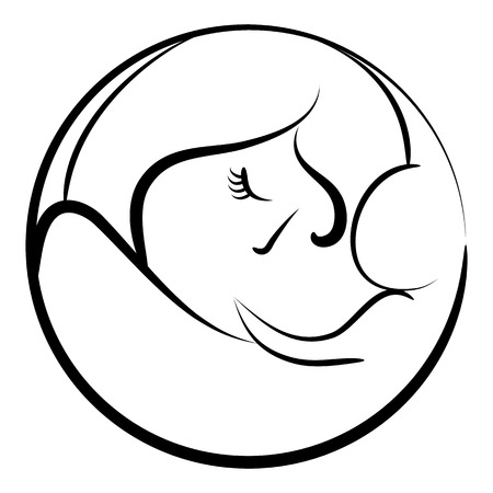 An image of an abstract mother with her newborn child.