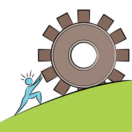 An image of a business cartoon figure pushing a gear uphill.