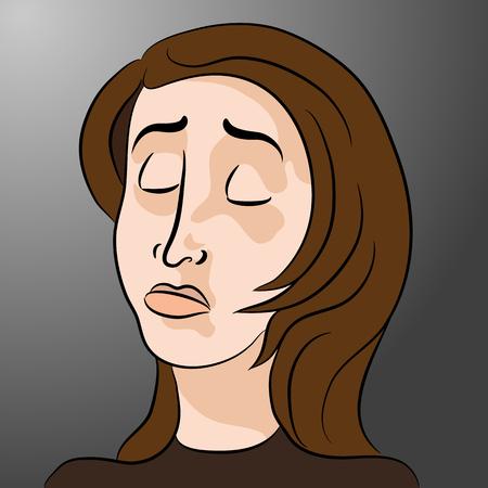 Une image d'un dessin animé femme triste.