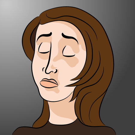 grieving: An image of a cartoon sad woman.