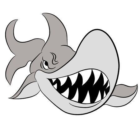 An image of a cartoon great white shark with large teeth.