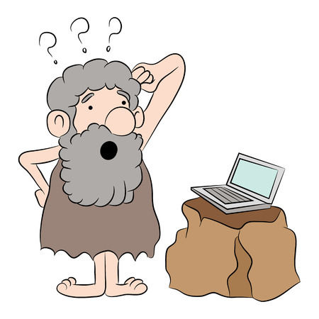 discovering: An image of a cartoon representing someone seeing a computer for the first time. Illustration