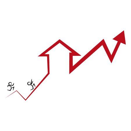 집값과 금리의 상승을 따라 잡으려고하는 주택 구매자의 이미지.