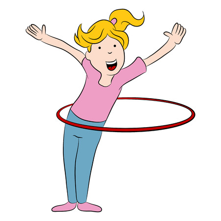 An image of a cartoon girl playing with a hula hoop. 일러스트