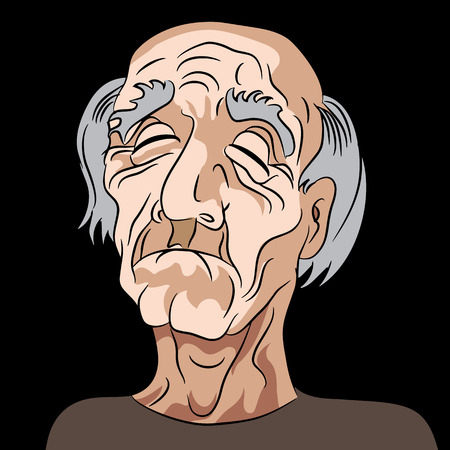 sad cartoon: An image of a sad elderly man. Illustration