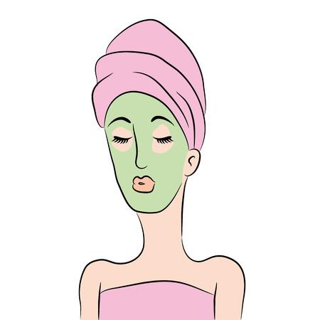 Een afbeelding van een cartoon vrouw krijgt een spa-gezichtsbehandeling. Stock Illustratie