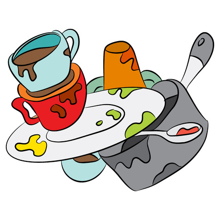 unwashed: An image of a cartoon of dirty dishes.