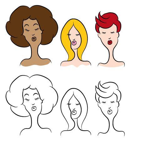 dibujos animados de mujeres: Una imagen de las mujeres de dibujos animados con diferentes peinados. Vectores