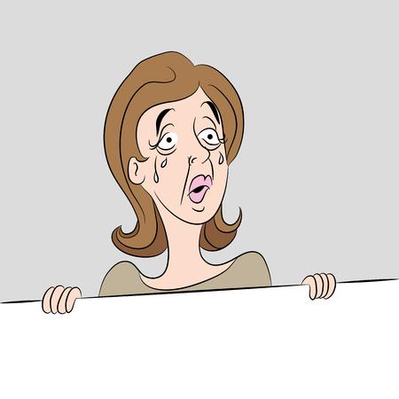 femme triste: Une image d'une femme de bande dessinée se sentir triste avec des larmes coulaient sur son visage. Illustration