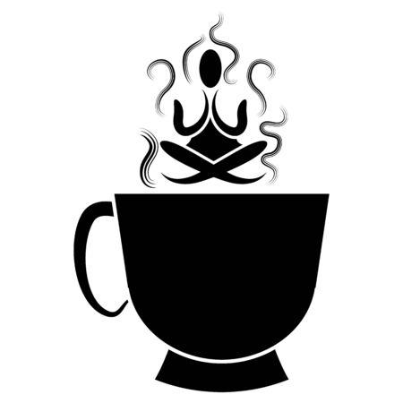Een afbeelding van een kopje thee met zen boeddhisme mediterende.