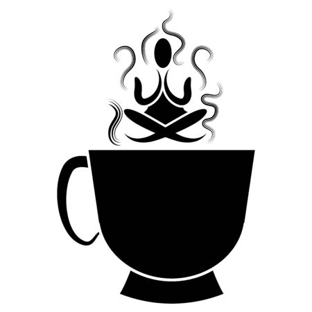 An image of a cup of of tea with zen Buddhism meditator. Illustration