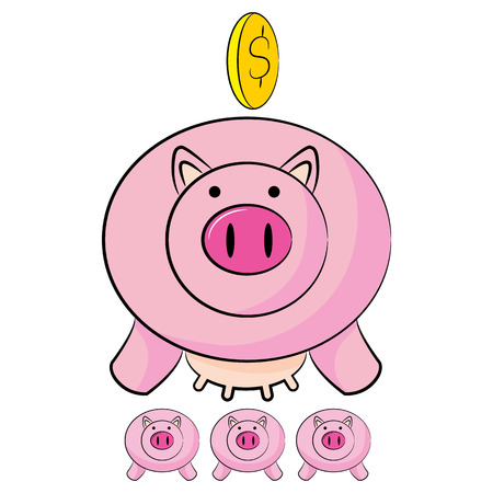 saved: An image of money being saved into cute piggy banks. Illustration
