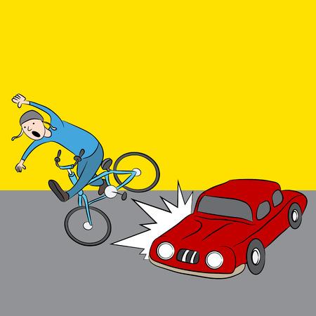 An image of a cartoon car hitting a pedestrian on a bike. Illustration