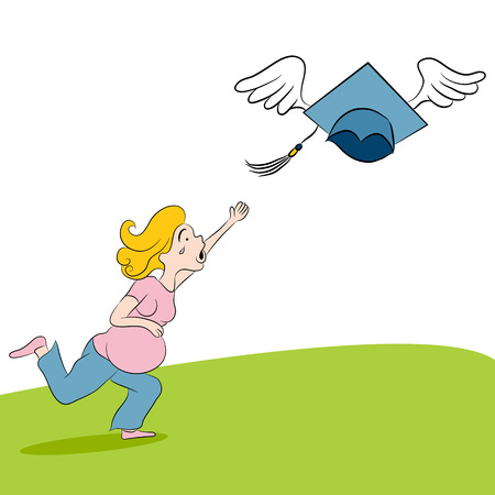 for a dream: An image of a cartoon pregnant girl chasing her dream for further education.