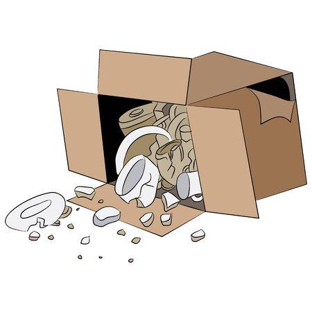 An image of a cartoon box of broken merchandise.