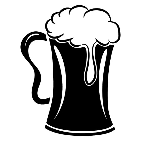 froth: An image of a mug of beer with froth. Illustration