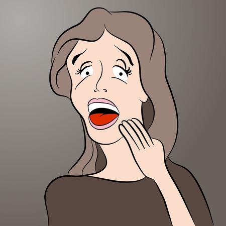 looks: An image of a shocked cartoon woman.