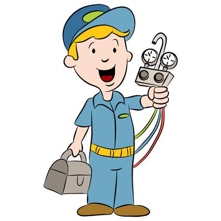 aire acondicionado: Una imagen de un reparador de dibujos animados.